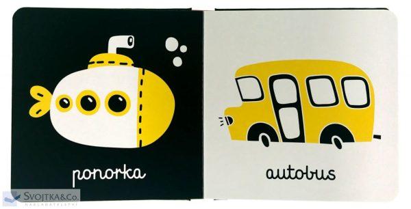 Dopravné_prostriedky_knižka_pre_bábätká_batoľatá_kontrastné_farby