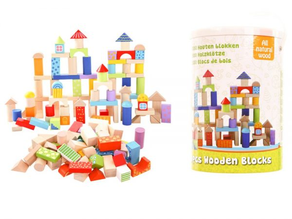 Sada 100 kusov drevených blokov Drevené bloky Ecotoys