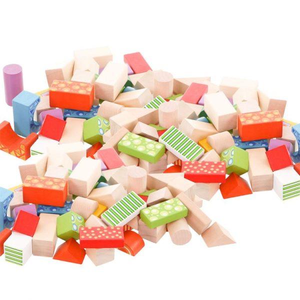Sada 100 kusov drevených blokov Drevené bloky Ecotoys jamita